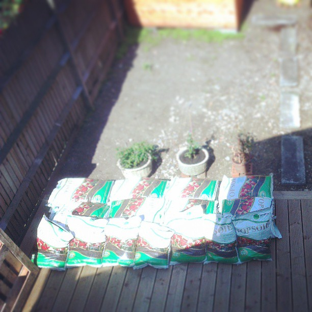 Yay, the topsoil has arrived. And, yes: gardening excites me a little.
